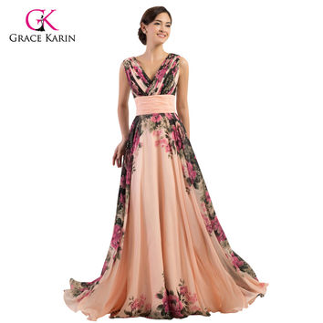 Ladies Evening Dresses 2017 Grace Karin Elegant Flower Chiffon Plus Size Formal Gowns High Quality Long Evening Party Dress