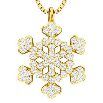 MDIGHY9 Fashion Accessories Cubic Zirconia Princess Flower Necklace & Pendants 18K Gold/Platinum Plated For Women Gift  P30158