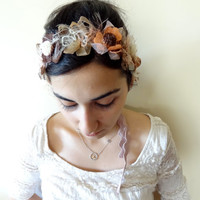 Pink Powder,Brown,Orange,Flowers,Headband,Boho wrap headband, Beach Wedding Headband, Bridal Accessories, Elastic Headband