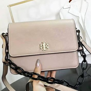 Tory Burch Fashion Women Bag Metal Lock Shoulder Bag B-AGG-CZDL Apricot