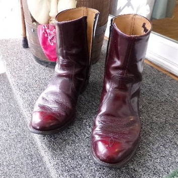Men's Cowboy Boots, ankle zip, burgundy leather cowboy boots, American Made by UFCW 1970's gift for him, Leather cowboy boots