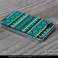 iPhone 4 case iPhone 4s case - Mint Aztec Design iPhone Hard Case