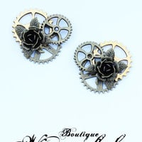 Bronze roses and leaf on gears steampunk threaded plugs earring