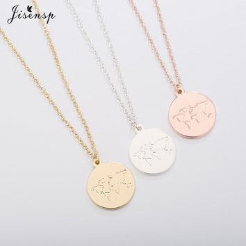 Jisensp Globe World Map Necklace Women Geometric Necklaces Earth Day Gift for Best Friends Circle Necklaces Pendants Jewelry