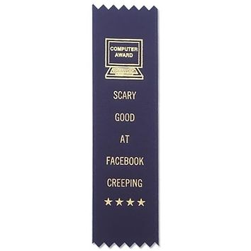Scary Good At Facebook Creeping Adulting Award Ribbon on Gift Card