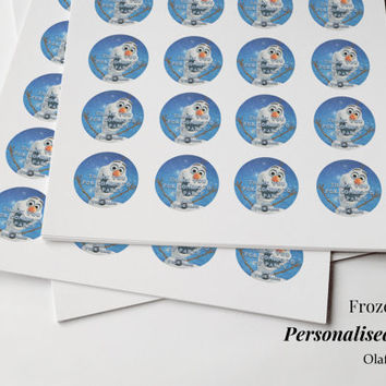 "Frozen Personalised Party Stickers 24 small ""Thank you for coming to my Party"" Birthday Anna Elsa Olaf Sven Kristoff"