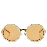 LINDA FARROW X 3.1 PHILLIP LIMCream Marbled Acrylic Round Sunglasses
