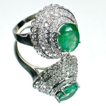 14k Emerald Cocktail or Dinner Ring with 1.5cts of Diamonds- FREE Shipping USA/Canada