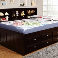 Full Size Bookcase Captains Day Bed in Espresso 2923   Bedroom Furniture for Kids and Teens   Discovery World Furniture