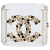 Chanel Lucite Logo Hinged Cuff Bracelet