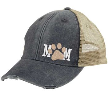 Big Dog Mom Trucker Hat - Distressed Snapback - off-center