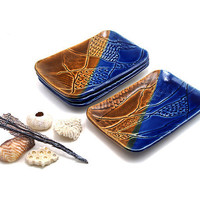 Set of Ceramic Plates:  4 Brown and Blue Plates Textured with Corals and Shells, Beach Themed Tapas Plates by MiriHardyPottery