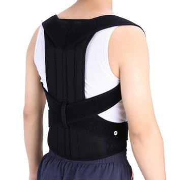 Strong Back Body Shoulder Support Brace Unisex Black Posture Corrector