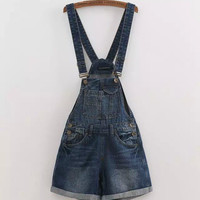 Dark Blue Denim Straps Cuffed Romper
