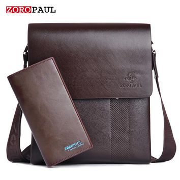 ZOROPAUL Men's Business Leather Messenger Bag and Bill Fold Wallet