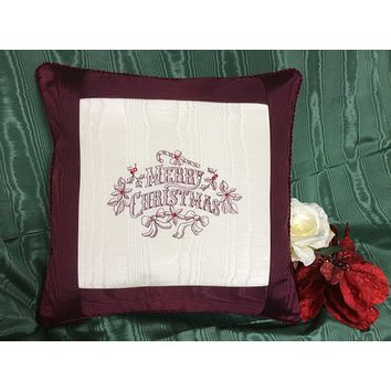 Burgundy Embroidered Merry Christmas Pillow with Swarovski Crystals