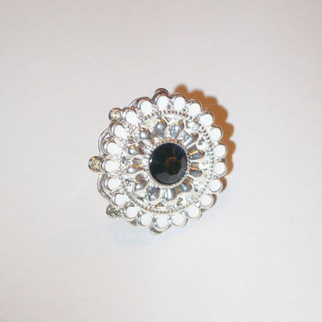 Large White Black and Silver Adjustable Ring by StrictlyCute