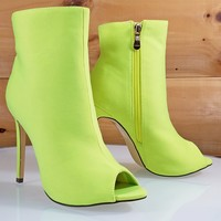 Bleu Neon Yellow Satin High Heel Ankle Boot