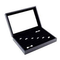 Caddy Bay Collection Black Jewelry Ring Cuff Links Case Display Storage Box with Glass Top