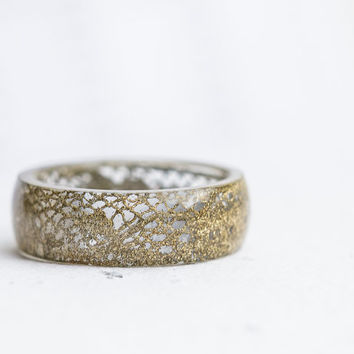 Gold Lace Resin Ring Big Size 8.5 - 10 Smooth Ring OOAK french vintage dark gold bronze lace eco friendly resin jewelry