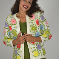Vintage Floral Cardigan, 50s Cardigan, Cardigan Sweater, Pop Floral, Christmas Sweater, Bright Floral, White Cardigan, 50's Fashion, Size M