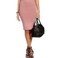 Mauve Bodycon Long Pencil Skirt