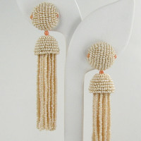 Cream and Coral Seed Bead Tassel Earrings