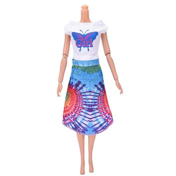 "Butterfly Print Beautiful Handmade Doll Party Clothes Ethnic Style knee-longthe Dress for 9"" Barbie Doll"