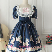 Fairy Tales Princess Blue Cotton Square Neck Short Sleeves Lace Trim Sweet Lolita Dress