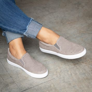 Laser Cut Slip-On Taupe Sneakers