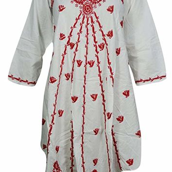 Womens Tank Dress Tunic Red Floral Paisley Embroidered Loose A-line Long Sleeves Sundress Cover up