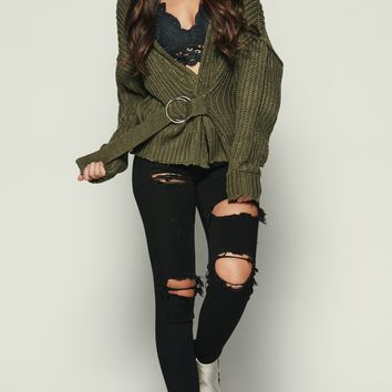 Delightfully Chaotic Knitted Sweater (Olive)