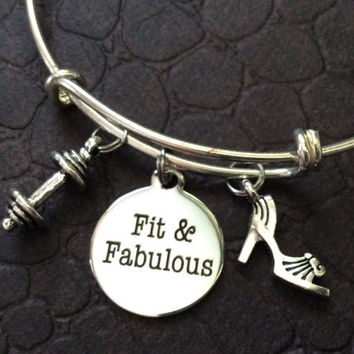 Fit and Fabulous Weights Exercise Workout Expandable Bracelet Adjustable Wire Bangle Trendy Gift