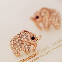 Cutie Elephant Full Rhinestone Fashion Earrings