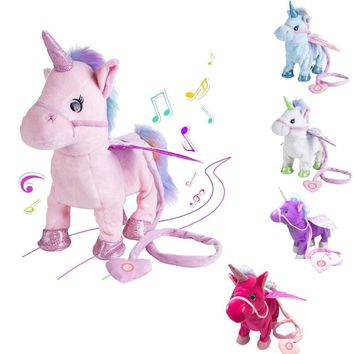 VIP Link Walking Unicorn Plush Toy Stuffed Animal Soft Toy Electronic Music Toy For Children Christmas Gifts