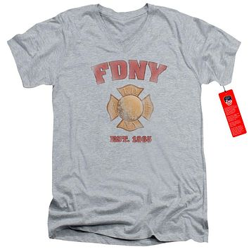 FDNY Slim Fit V-Neck T-Shirt New York City Fire Dept Vintage Heather Tee