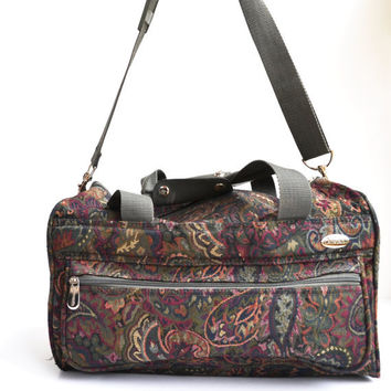 Vintage Pierre Cardin Luggage Carry On Duffle Bag Floral Print Overnight Weekender Canvas Bag