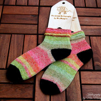 Handknit socks size EU 33-35, US 4-5, handknit in black, yellow, pink and green, holiday gift for her, wool socks, boot socks