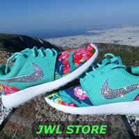 custom nike roshe run shoes with fabric floral aqua green color sneakers blinged with swarovski crystals athletic nike womens shoes