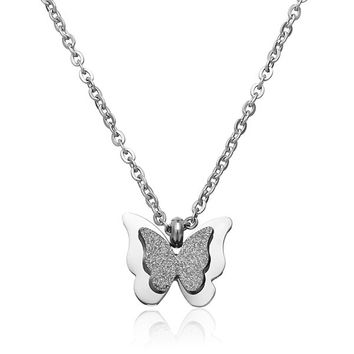 Elegant Frosted Double Layer Butterfly Pendant Necklace Jewelry
