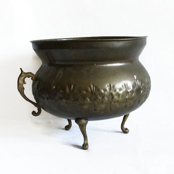 Rustic footed bowl vintage brass patina verdigris, embossed folk art, handmade etching, planter pot, home decor, antique houseware, olive