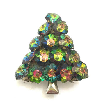 Margarita Rhinestone Christmas Tree Brooch, Flower Shaped Green Watermelon Crystals, Mid Century Design, Vintage Holiday, 1950's - 1960's