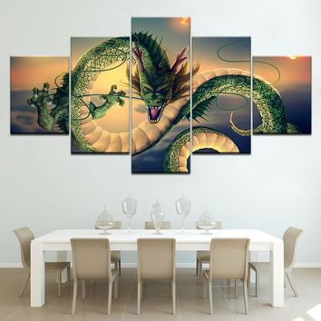 Canvas Poster Living Room Wall Art 5 Pieces Cartoon Dragon Ball Painting HD Prints Shenron Pictures Home Decor Modular Framework