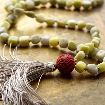 Long green peridot jasper necklace Carved red chinese cinnabar bead Taupe silk tassel necklace Unique boho luxe fashion Green bead necklace