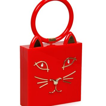Charlotte Olympia Red Perspex Kitty Clutch Bag
