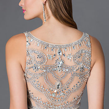 Sleeveless Floor Length Prom Dress with Jewel Embellished Sheer Bodice