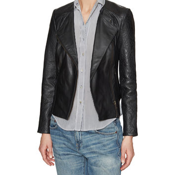 Bhira Embossed Leather Biker Jacket