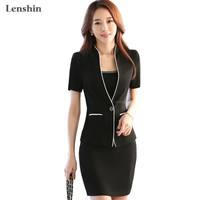 Lenshin New Summer 2 Pieces Sets Women Clothes Short Sleeve Elegant Top Business Formal Office Lady Blazer Female Skirt Suits