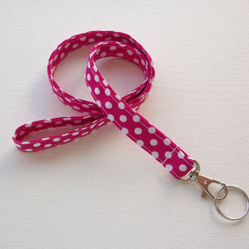 Lanyard ID Badge Holder - NEW THINNER design - White Polka Dots on Hot Pink - Lobster clasp and key ring