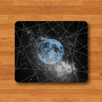 Blue EARTH In Dark GEOMETRIC Galaxy Mouse Pad Hipster Nebula Space Desk Deco Cute Mouse pad Computer Office Accessory For Boss Teacher Gift